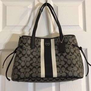 Coach signature stripe canvas leather carryall bag
